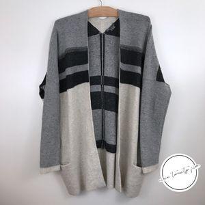 Vince Variegated Stripe Oversized Cardigan Gray L